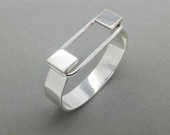 Puig Doria Sterling Silver Bracelet, Silver Cuff Bracelet, Silver Modern Bracelet, Chunky Silver Bracelet