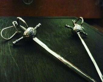 Sterling Silver pair of Spanish Swords earrings