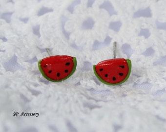 Miniature Watermelon Earrings, red clay stud, earrings clay, clay stud, fancy clay stud