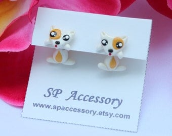 doc earrings, Dog clay earrings, Beagle clay, earrings clay, dog stud