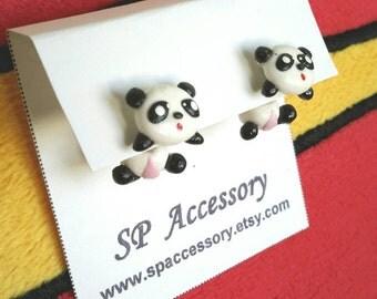Panda clay earrings, clay stud earring, earrings clay, panda stud