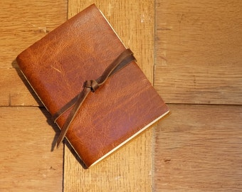 Rustic Leather Sketchbook with Recycled Cotton Paper in Pocket Size