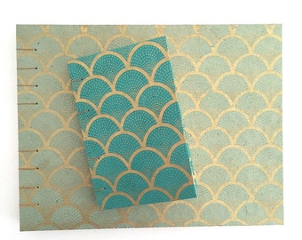 Large and Small Photo Albums with Teal/Blue and Metallic Gold Scallop Design