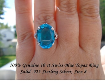 Genuine 10 ct Swiss Blue Topaz Ring