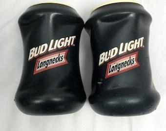 vtg (2) Bud Light longneck vintage logo beer cooler Set of 2 navy/white rare 80s 1980s - beer