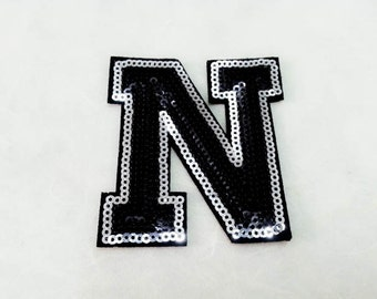 Alphabet Letter N Iron on Patch - Black Sequin N, Glitter Applique Embroidered Iron on Patch - Size 6.4x7.5 cm#T1