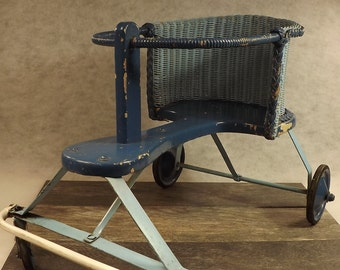 Antique Baby walker 1920's Wicker seat
