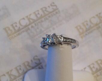 Vintage 14k white gold 13 Princess Cut Diamond Engagement Ring, .93 tw GH-I1, size 6.75, Prong & Channel Set