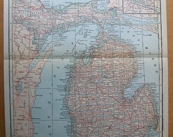 "Vintage 1925 Map of Michigan - 9"" x 11"""