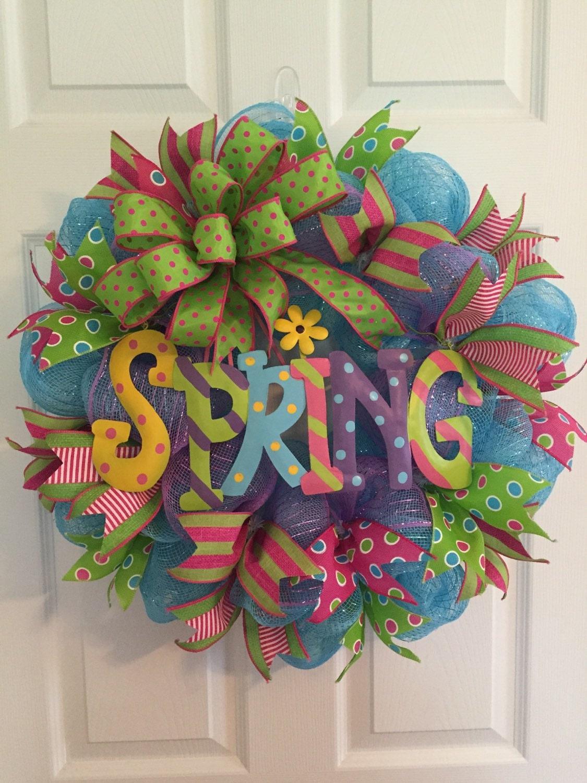 Sale Spring Wreath Deco Mesh Wreath Door Hanger Front