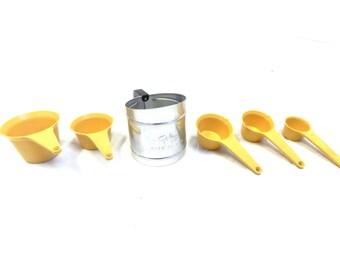 Vintage Foley Measuring Cups and Flour Sifter Set - Baking Set