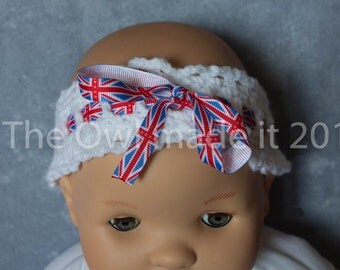 Union jack baby headband, baby girl headband, crochet headband, kids headband, best selling item, photo prop, baby gift, UK seller
