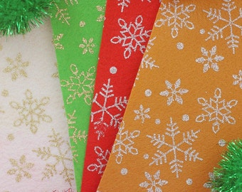 Snowflake-Christmas Theme Glitter Felt Fabric -20cm x 20cm - 4 colours/pack - Felt Fabric DIY Craft Sewing Fabric Polester Felt