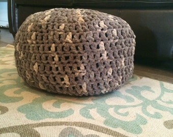 Extra soft yarn croched floor poof/foot rest stool.