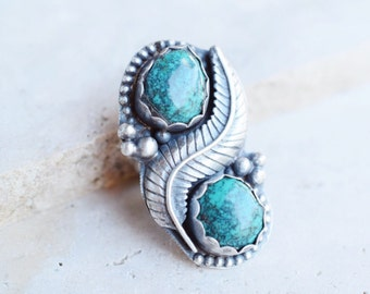 Large turquoise ring, turquoise statement ring, turquoise silver leaf ring, sterling silver ring, ring size 7
