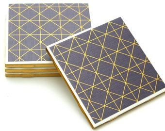 070 - Mid Century Modern Decor Grey Gold Drink Coasters - Handpainted Metallic Gold Edges Table Coasters - Full Cork Backing Bar Coasters