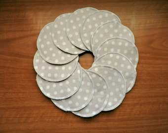 6 Matching Pairs - 5 Inch Large / XL Reusable Washable Nursing Pads - Gray w/ White Polka Dots - Breast Feeding - Eco Friendly Mama & Baby