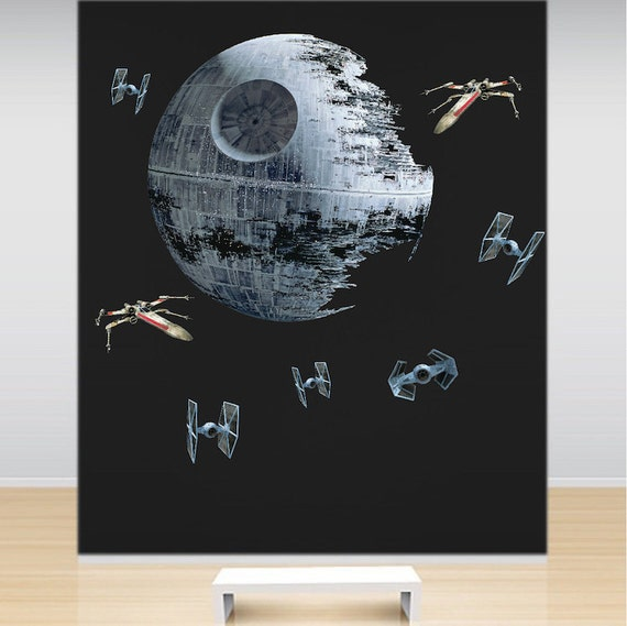 Death star wars wall decal kit star wars room wall sticker for Death star wall mural