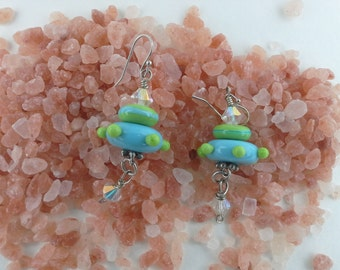 glass crystal and sterling silver earings