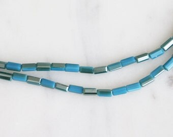 A3-036-12] Two Tone Turquoise / 2 x 4mm / Faceted Crystal / Square Tube Bead  / 1 strand