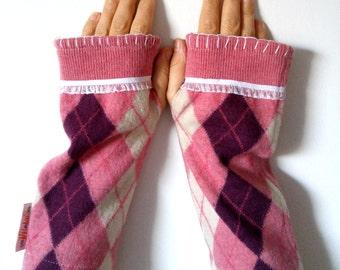 Pink Argyle Wool Wristwarmers ~Upcycled Women's Armwarmers ~ Repurposed Sweater Fingerless Gloves ~ Pink, White, Wine, OOAK Wristwarmers