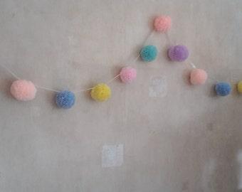 Pompom Garland, Pompom Bunting, Nursery Garland, Pastel Pompoms