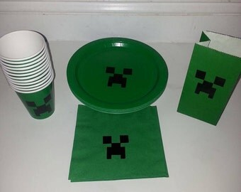 Block creature Party plates, cups and napkins