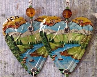 Up-cycled Sierra Nevada Pale Ale Earrings, heart shaped aluminum beer can earrings