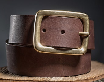 Leather belt, Leather belt for men, Heavy duty leather belt , Brown leather belt , Wide leather belt, Husband gift