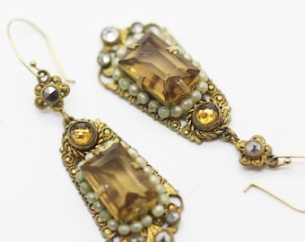 Antique Victorian Edwardian Earrings Paste Gilt 14k Gold Ear Pendants (#5982)