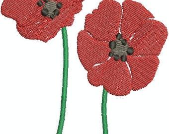 Poppy flower - Digital embroidery design