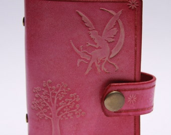 Leather card wallet, Credit Card holder, credit card organiser, handmade, pink leather fairy tail, tree  015