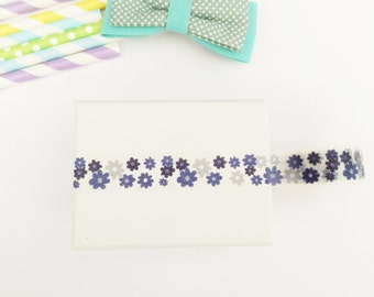 Cute blue daisies floral washi tape, cute deco tape, paper tape, cute tape, packaging, wrap tape,blue flowers,daisies,blue navy