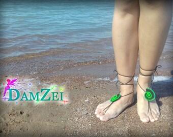 crochet seashell, Barefoot Sandal, Black & Lime Barefoot Sandal, Lace Barefoot Sandal, Barefoot Anklet, Foot Jewelry