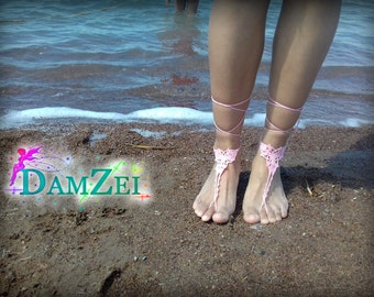 Pink Barefoot Sandal, Crocheted Anklet, Lace Barefoot Sandal, Barefoot Anklet, Foot Jewelry, steampunk sandals
