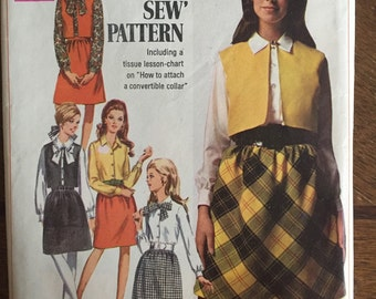Vintage 60s Jacket Skirt & Shirt - Simplicity  Pattern 7777 - Ladies Suit - Vintage Suit - Vintage skirt vest and blouse - Size 10