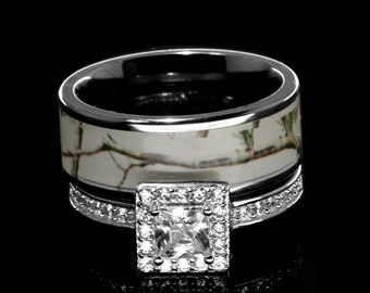 Women White Titanium Camo And Sterling Silver Halo Engagement Wedding Rings Set