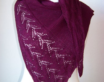 "Shawl Knitting PATTERN PDF, Knitted Shawl Pattern, Lace Shawl Wrap, asymetrical Shawl ""Climbing Flower"""""