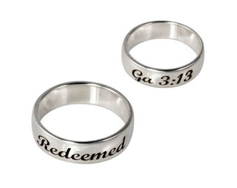 Scripture Ring Redeemed Sterling Silver