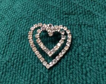 Vintage Silvertone and Rhinestone Double Heart Pendant