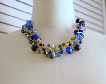 Crocheted Wire Necklace, Blue, Gold