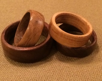 Wooden wedding bands/rings. Solid Hickory, Walnut, or Oak. All sizes available.