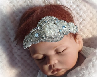 Baby Girl Headband with Rhinestones, Newborn Girl Tiara Headband, Baby Girl Crown Headband, Baby Photo Prop