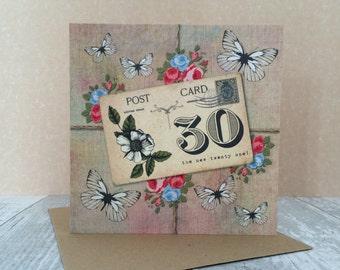 FREE SHIPPING * 30th Birthday Card