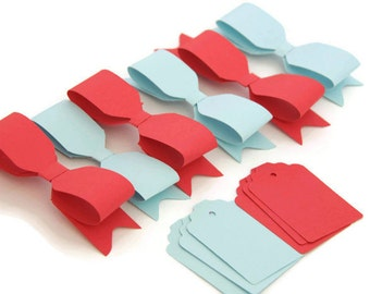 Set of 6 DIY Red and Blue Paper bows - Red paper bow - Blue paper bow - Gift tags - paper tags