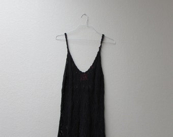 Crochet black dress with shawl