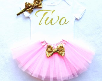 Gold and pink birthday outfit, second birthday outfit, gold glitter two, pink and gold tutu,  second birthday, pink gold second birthday