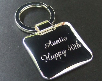 Engraved Silver Plated Square Cushion Keyring/ Key Ring/ Keychain
