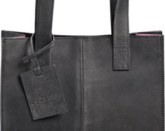 Fair-trade leather bag / color: black