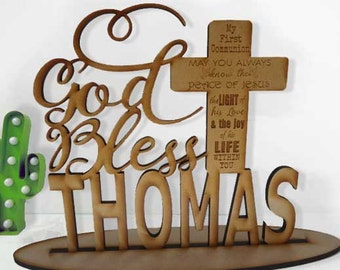 God Bless Personalised ,Table signs for Holy Communion